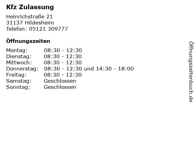 Kfz Zulassung in Hildesheim: Adresse und Öffnungszeiten