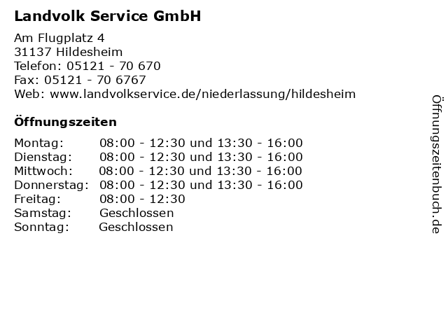 Landvolk Service GmbH in Hildesheim: Adresse und Öffnungszeiten
