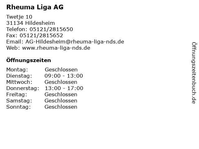 Rheuma Liga AG in Hildesheim: Adresse und Öffnungszeiten