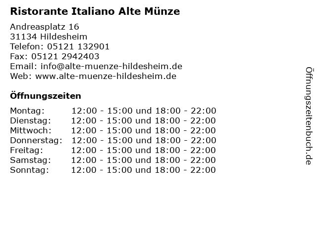 ᐅ öffnungszeiten Ristorante Italiano Alte Münze Andreasplatz 16