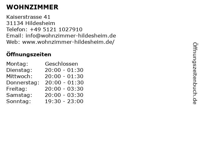 ᐅ öffnungszeiten Wohnzimmer Kaiserstrasse 41 In Hildesheim