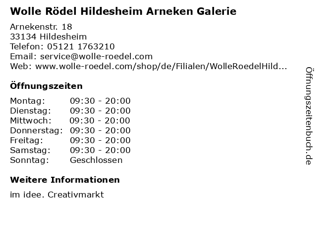 Wolle Rödel Hildesheim Arneken Galerie in Hildesheim: Adresse und Öffnungszeiten