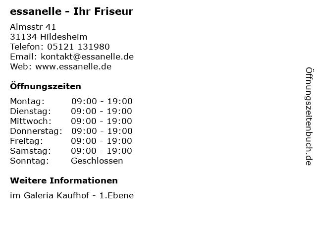 essanelle - Ihr Friseur in Hildesheim: Adresse und Öffnungszeiten