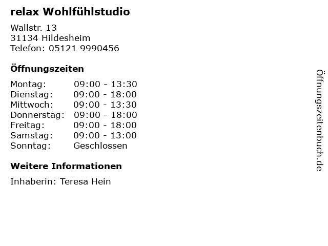 relax Wohlfühlstudio in Hildesheim: Adresse und Öffnungszeiten