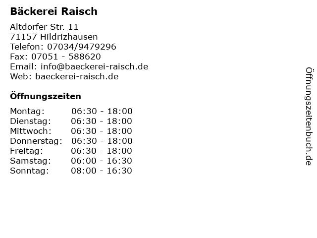 Bäckerei Raisch in Hildrizhausen: Adresse und Öffnungszeiten
