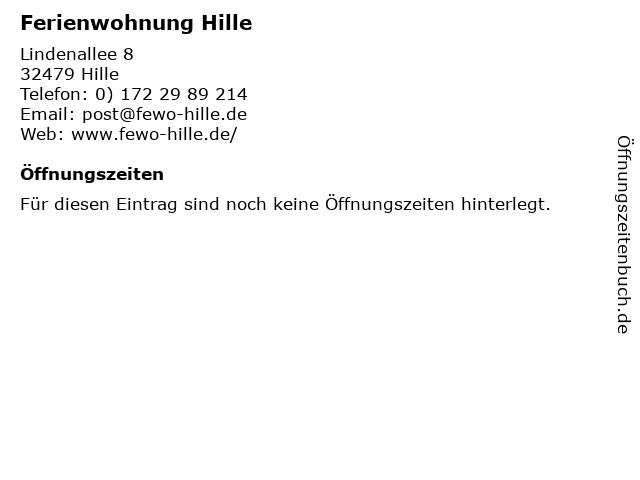 Ferienwohnung Hille in Hille: Adresse und Öffnungszeiten