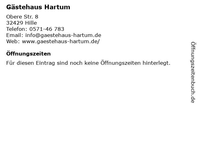Gästehaus Hartum in Hille: Adresse und Öffnungszeiten