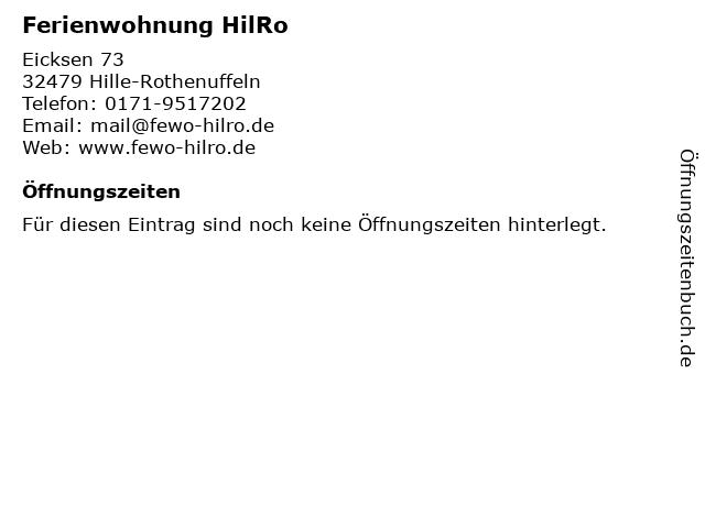 Ferienwohnung HilRo in Hille-Rothenuffeln: Adresse und Öffnungszeiten