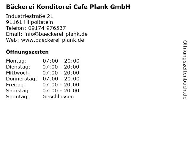 Bäckerei Konditorei Cafe Plank GmbH in Hilpoltstein: Adresse und Öffnungszeiten