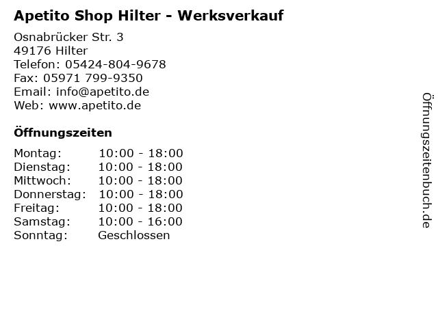 Apetito Shop Hilter - Werksverkauf in Hilter: Adresse und Öffnungszeiten