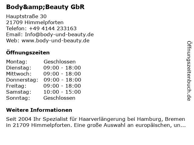 Body&Beauty GbR in Himmelpforten: Adresse und Öffnungszeiten