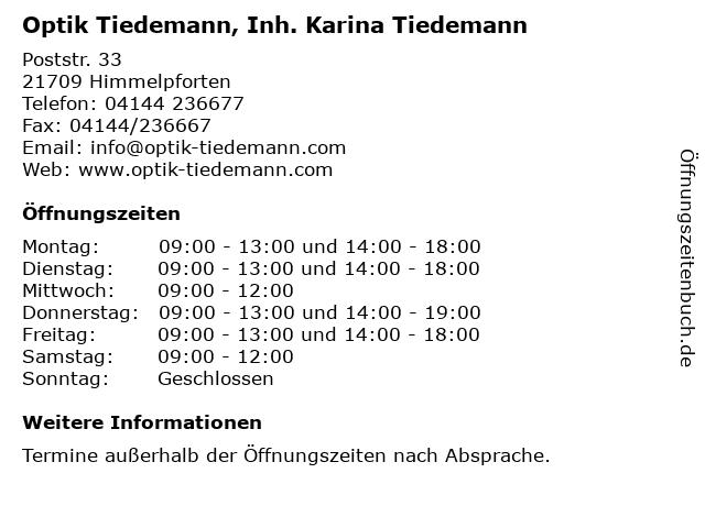 Optik Tiedemann, Inh. Karina Tiedemann in Himmelpforten: Adresse und Öffnungszeiten