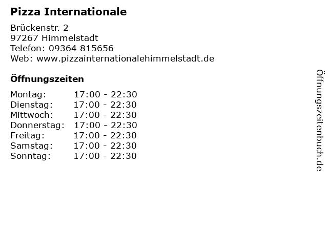 Pizza Internationale in Himmelstadt: Adresse und Öffnungszeiten
