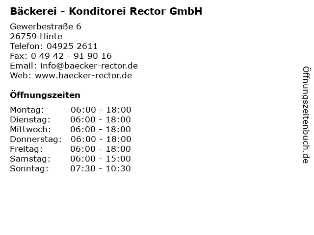 Bäckerei - Konditorei Rector GmbH in Hinte: Adresse und Öffnungszeiten