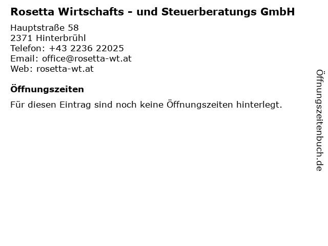 Rosetta Wirtschafts - und Steuerberatungs GmbH in Hinterbrühl: Adresse und Öffnungszeiten