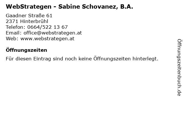 WebStrategen - Sabine Schovanez, B.A. in Hinterbrühl: Adresse und Öffnungszeiten