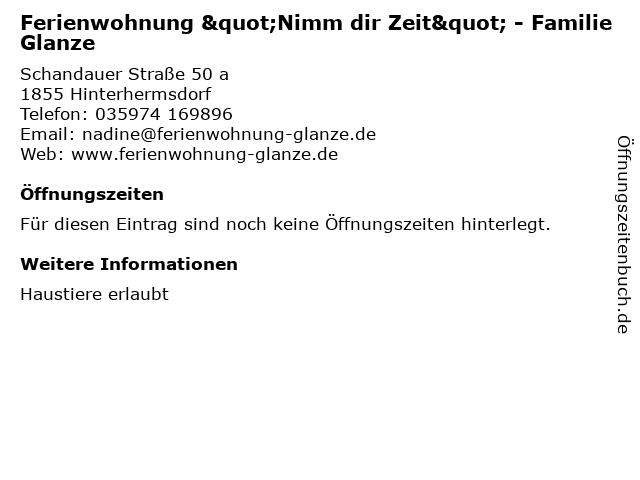 """Ferienwohnung """"Nimm dir Zeit"""" - Familie Glanze in Hinterhermsdorf: Adresse und Öffnungszeiten"""