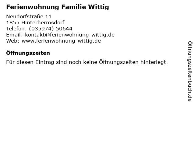 Ferienwohnung Familie Wittig in Hinterhermsdorf: Adresse und Öffnungszeiten