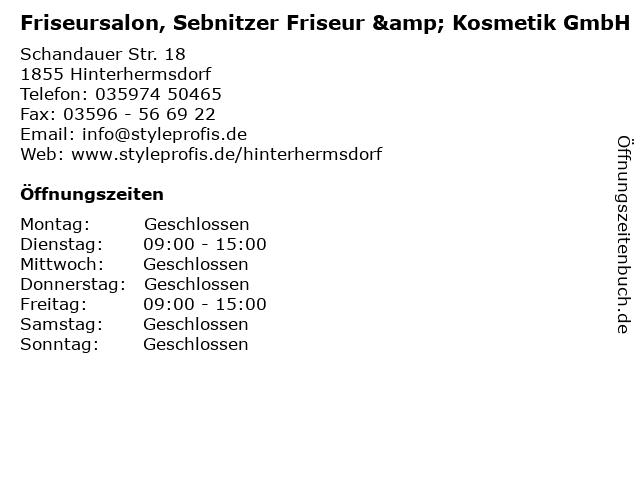 Friseursalon, Sebnitzer Friseur & Kosmetik GmbH in Hinterhermsdorf: Adresse und Öffnungszeiten