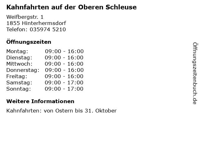 Kahnfahrten auf der Oberen Schleuse in Hinterhermsdorf: Adresse und Öffnungszeiten