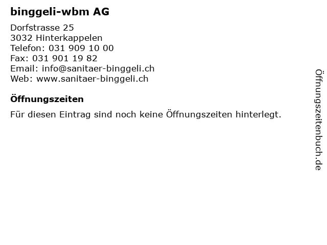 binggeli-wbm AG in Hinterkappelen: Adresse und Öffnungszeiten