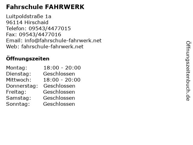 Fahrschule FAHRWERK in Hirschaid: Adresse und Öffnungszeiten