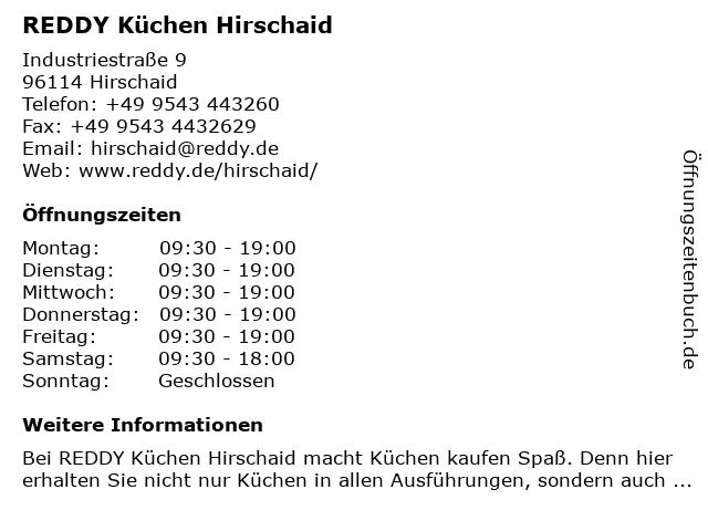 ᐅ Offnungszeiten Reddy Kuchen Hirschaid Industriestrasse 9 In