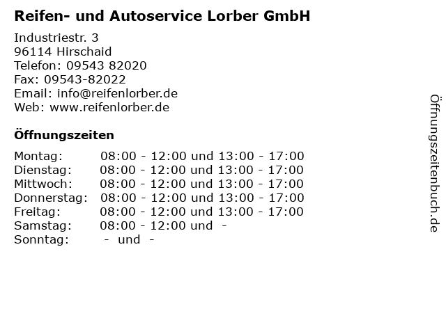 Reifen- und Autoservice Lorber GmbH in Hirschaid: Adresse und Öffnungszeiten