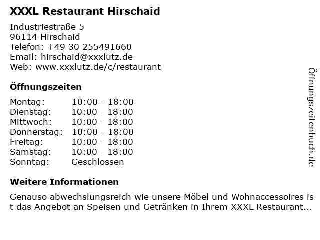 ᐅ öffnungszeiten Xxxl Restaurant Hirschaid Industriestraße 5 In