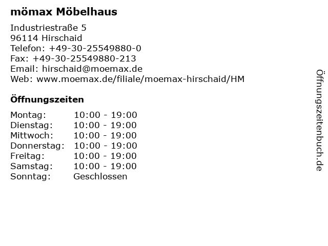 ᐅ öffnungszeiten Mömax Möbelhaus Hirschaid Industriestraße 5 In