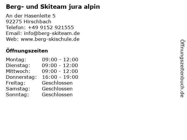Berg- und Skiteam jura alpin in Hirschbach: Adresse und Öffnungszeiten
