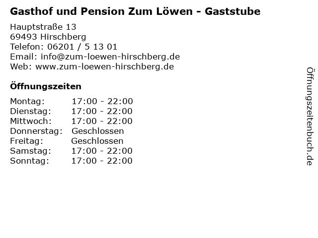 Gasthof und Pension Zum Löwen - Gaststube in Hirschberg: Adresse und Öffnungszeiten
