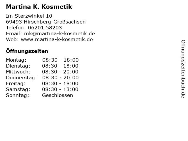 Martina K. Kosmetik in Hirschberg-Großsachsen: Adresse und Öffnungszeiten