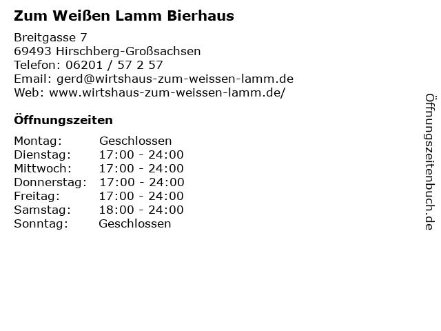 Zum Weißen Lamm Bierhaus in Hirschberg-Großsachsen: Adresse und Öffnungszeiten