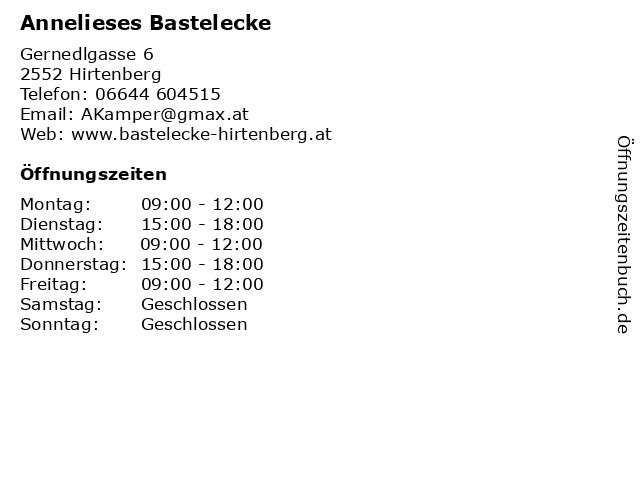 Annelieses Bastelecke in Hirtenberg: Adresse und Öffnungszeiten