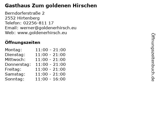 Gasthaus Zum goldenen Hirschen in Hirtenberg: Adresse und Öffnungszeiten