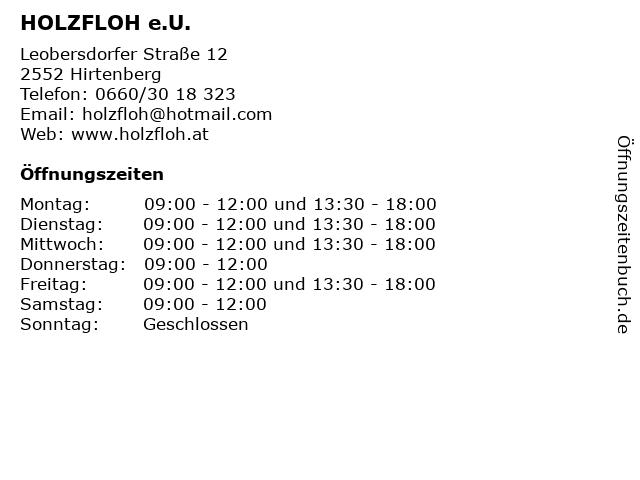HOLZFLOH e.U. in Hirtenberg: Adresse und Öffnungszeiten