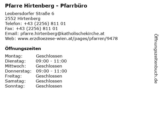 Pfarre Hirtenberg - Pfarrbüro in Hirtenberg: Adresse und Öffnungszeiten