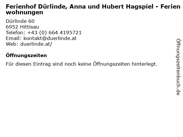 Ferienhof Dürlinde, Anna und Hubert Hagspiel - Ferienwohnungen in Hittisau: Adresse und Öffnungszeiten