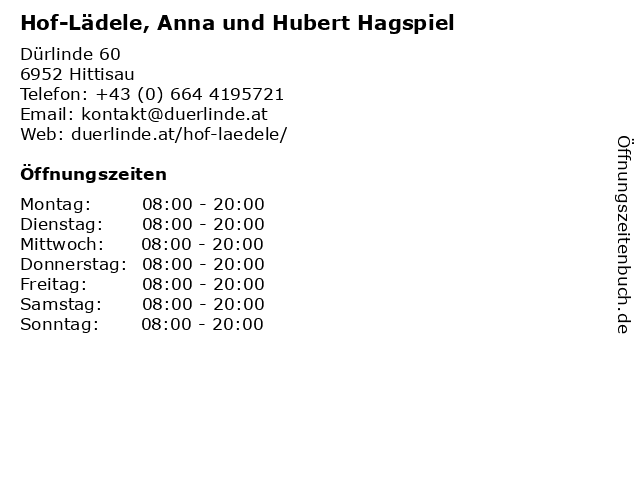 Hof-Lädele, Anna und Hubert Hagspiel in Hittisau: Adresse und Öffnungszeiten