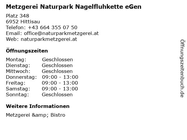Metzgerei Naturpark Nagelfluhkette eGen - Metzgerei & Bistro in Hittisau: Adresse und Öffnungszeiten