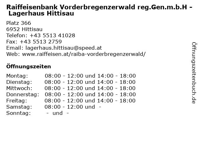 Raiffeisenbank Vorderbregenzerwald reg.Gen.m.b.H - Lagerhaus Hittisau in Hittisau: Adresse und Öffnungszeiten