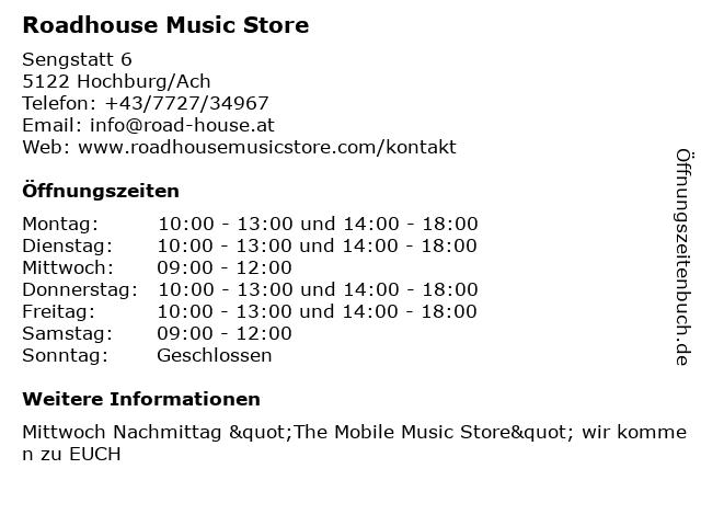 Roadhouse Music Store in Hochburg/Ach: Adresse und Öffnungszeiten