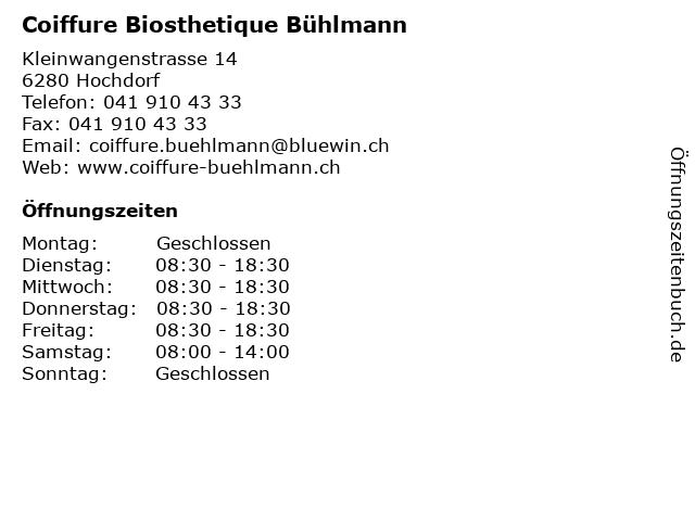ᐅ Offnungszeiten Coiffure Buhlmann Kleinwangenstrasse 14 In Hochdorf