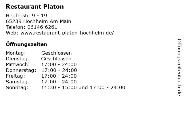 Restaurant Platon in Hochheim Am Main: Adresse und Öffnungszeiten