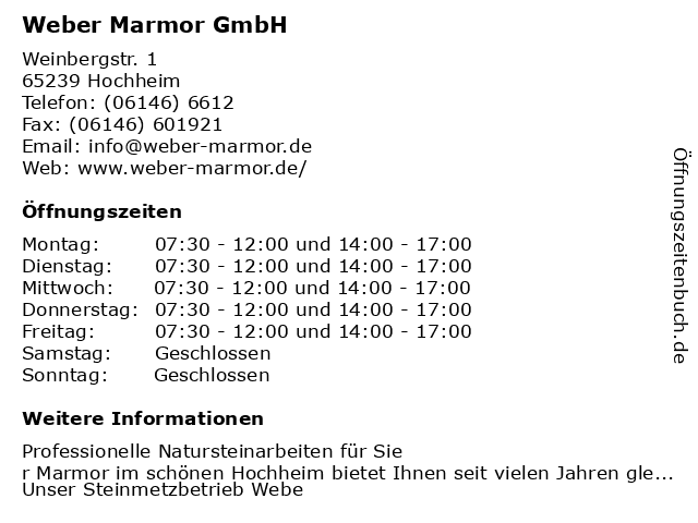 Weber Marmor GmbH in Hochheim: Adresse und Öffnungszeiten