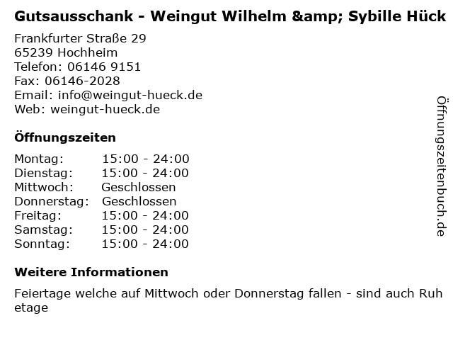 Gutsausschank - Weingut Wilhelm & Sybille Hück in Hochheim: Adresse und Öffnungszeiten
