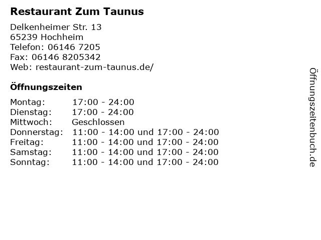 Restaurant Zum Taunus in Hochheim: Adresse und Öffnungszeiten