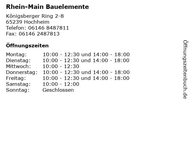 Rhein-Main Bauelemente in Hochheim: Adresse und Öffnungszeiten