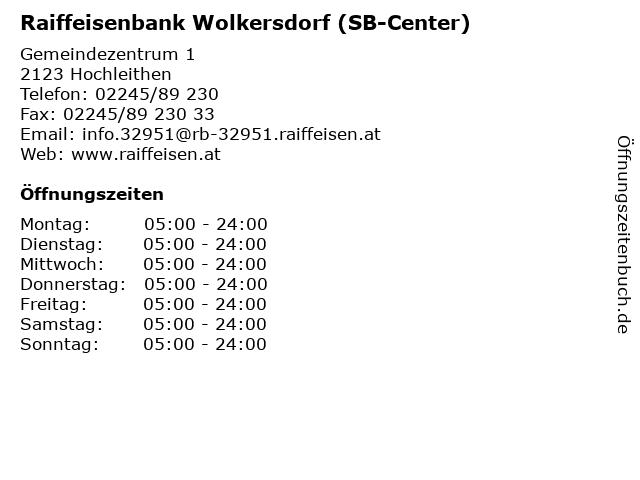 Raiffeisenbank Wolkersdorf (SB-Center) in Hochleithen: Adresse und Öffnungszeiten